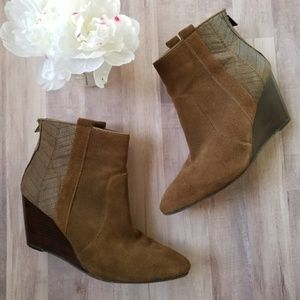 Dolce Vita Leather and Suede Wedge Ankle Booties